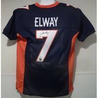 John Elway Autographed Denver Broncos Size XL Blue Jersey JSA