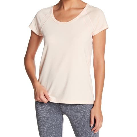 Zella Blush Womens Solid Scoop Neck Stretch Knit Top $29