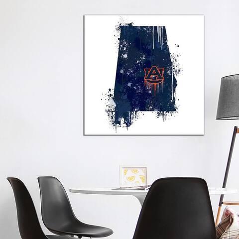 "iCanvas ""Auburn University Auburn, AL Watercolor State"" by Auburn University ® Canvas Print"
