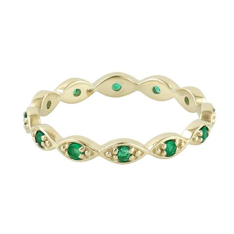 14kt Yellow Gold Natural Emerald Band Ring Precious Stone Jewelry with Jewelry Box Black Friday Sale