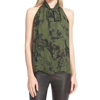 Parker NEW Green Women's Size Medium M Printed Tank Cami Silk Top
