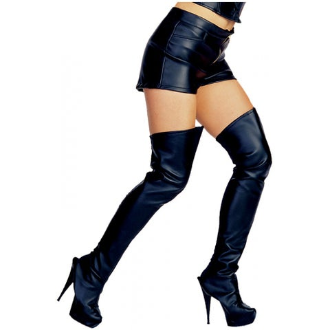 Leather Look Thigh High Boot Tops
