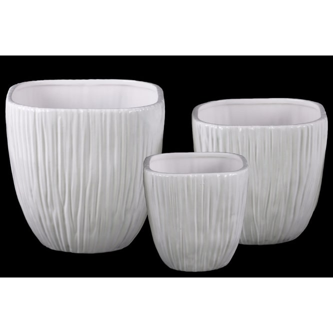 Ribbed Patterned Ceramic Flower Pot With Tapered Bottom, White