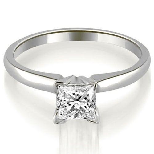 0.50 cttw. 14K White Gold Classic Princess Cut Solitaire Diamond Ring