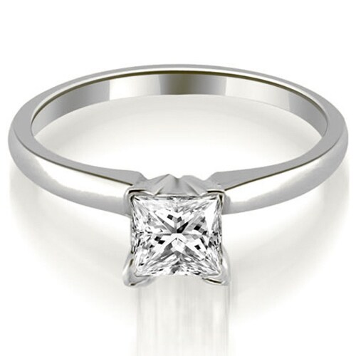 0.75 cttw. 14K White Gold Classic Princess Cut Solitaire Diamond Ring