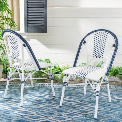 "Safavieh Outdoor Living Zoya Chair - Navy / White (Set of 2) - 18.1""x22""x35"""