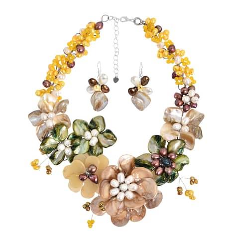 Handmade Golden Gradual Semiprecious Flower Bouquet Statement Jewelry Set (Thailand) - Gold