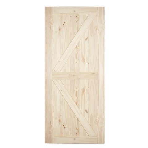 """BELLEZE 36""""x84"""" Sliding Barn Door Unfinished Natural Knotty Pine - standard"""