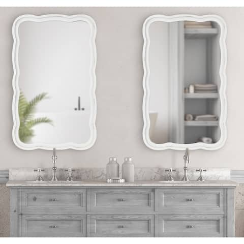 Kate and Laurel Hatherleigh Scallop Wood Wall Mirror - 23.5x38