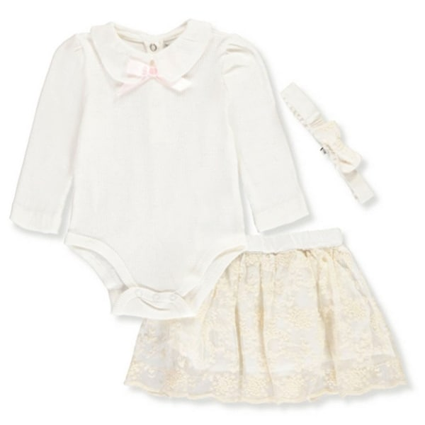 Harry & Violet Baby Girls Ivory Bodysuit Skirt Bow Headband 3 Pc Outfit