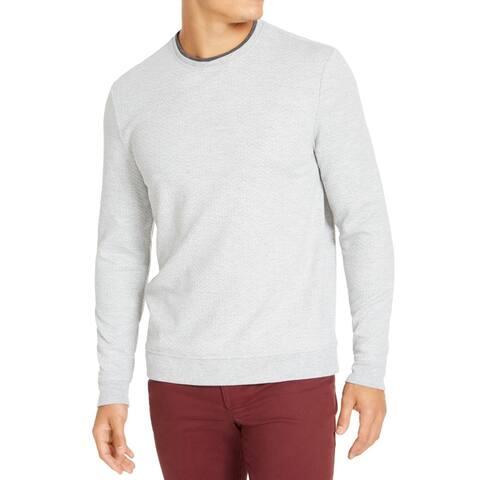 Tasso Elba Mens Sweater Crewneck Layered-Neck Pullover