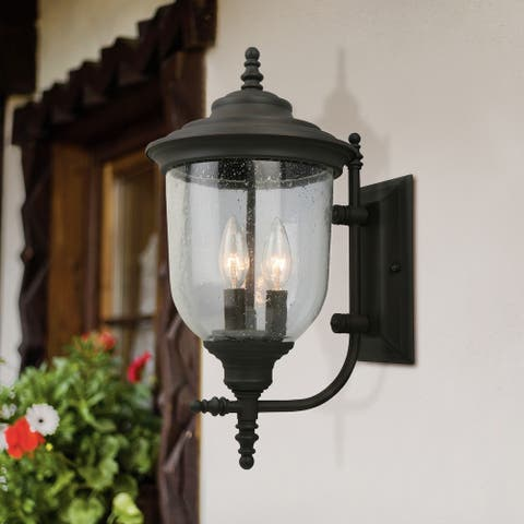 Eglo Pinedale 22.50 inch Matte Black Outdoor Wall Light with Clear Seeded Glass