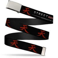 Blank Chrome  Buckle Street Fighter Assassin's Fist Akuma Symbol Black Web Belt - S