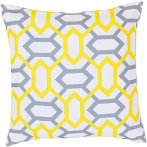 "22"" Chartreuse and Heather Gray Geometric Gems Decorative Throw Pillow"