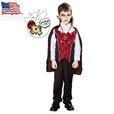 Eraspooky Boys Vampire Costume Fancy Dress Cloak Necklace Fangs Cosplay Halloween Party