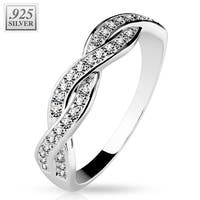 CZ Pave Half Circle Infinite .925 Sterling Silver with Authentic Rodium Finish Ring (Sold Ind.)