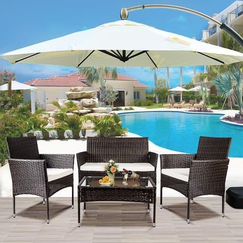 GZMR 4 PC Outdoor Garden Rattan Patio Furniture Set Cushioned Seat Wicker Sofa (Brown)