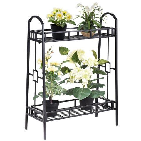 Costway Heavy Duty 2 Tier Metal Flower Pot Rack Plant Display Stand