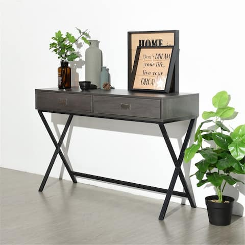 FurnitureR 2-Drawer Metal X Leg Writing Desk