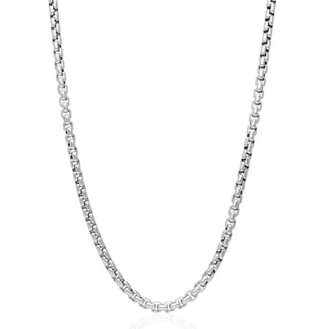 .925 Solid Sterling Silver 3MM Round Box Link .925 Rhodium Necklace Chain, Silver Chain for Men & Women, Made In Italy