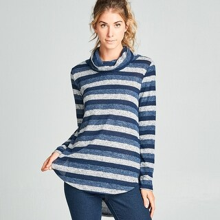 Brushed Stripe Cowl Neck Top