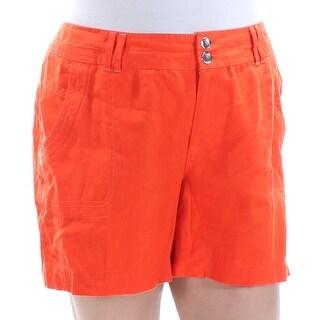 INC Womens Orange Rhinestone Curvy Fit Straight leg Short Size: 6
