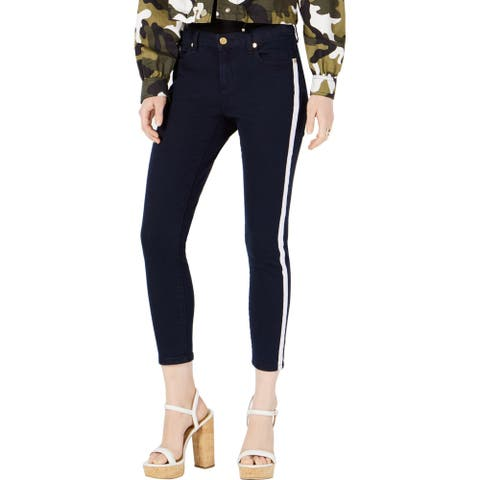 Michael Kors Womens Izzy Cropped Jeans Denim Striped - Dark Rinse - 0