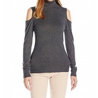 T Tahari NEW Gray Womens Size Medium M Turtleneck Cold-Shoulder Sweater