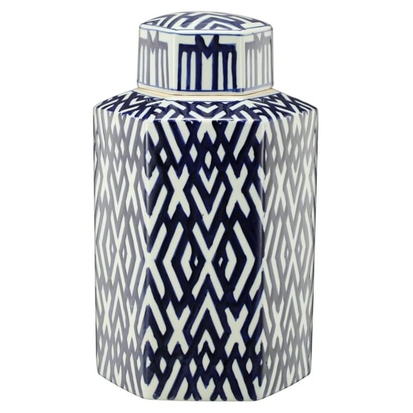 """16"""" Blue and White Contemporary Hexagonal Lidded Jar - N/A"""