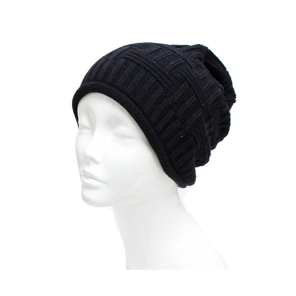 Unisex Basket Weave Slouchy Beanie Hat Mid Weight