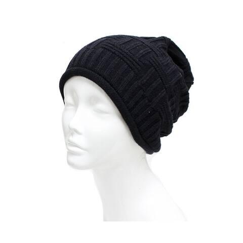 Unisex Basket Weave Slouchy Beanie Hat Mid Weight