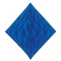 Club Pack of 12 Honeycomb Royal Blue Diamond Hanging Decorations  12.5""