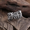 Vienna Jewelry Double Cross Emblem Stainless Steel Ring - Thumbnail 0
