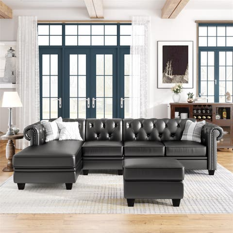 PU Leather Upholstered Nailheaded L-Shape Sectional Sofa with Storage Ottoman