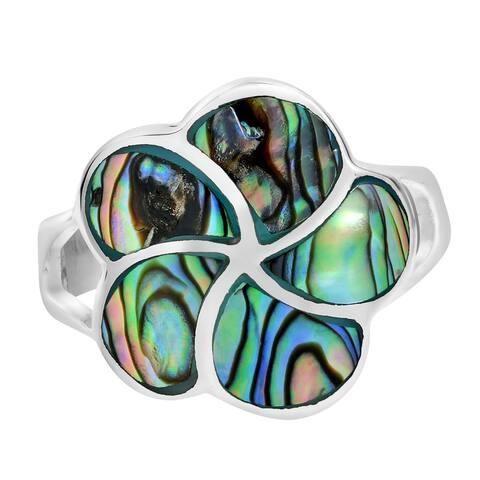Handmade Hawaiian Plumeria Flower Stone Inlays Sterling Silver Floral Ring (Thailand)