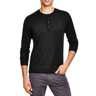 Bloomingdales Mens Merino Wool Henley Sweater Large Black Four-button Placket