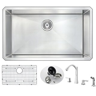 "Anzzi KAZ3219-032 Vanguard 32"" Single Basin 16 Gauge Stainless Steel Undermount (3 options available)"