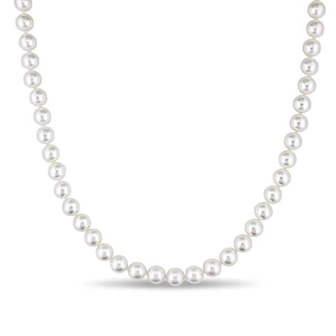 Miadora 7-7.5 MM Japanese Akoya Cultured Pearl Strand Necklace with 14k Yellow Gold Clasp