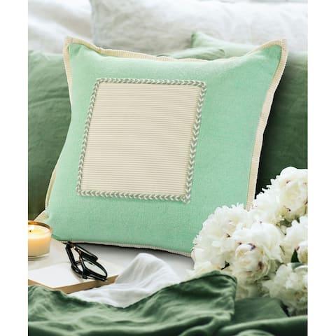 Pastel Green Riviera Framed Throw Pillow