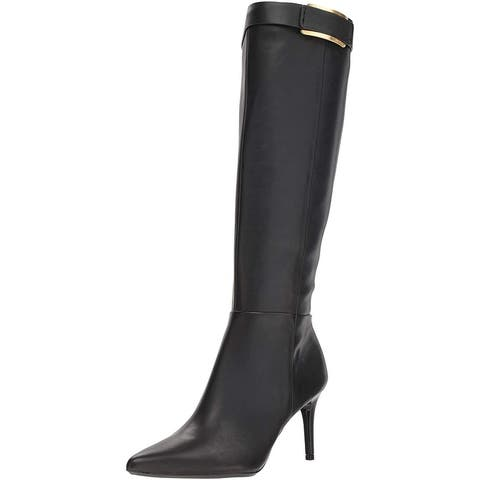Calvin Klein Womens glydia Fabric Almond Toe Knee High Fashion Boots