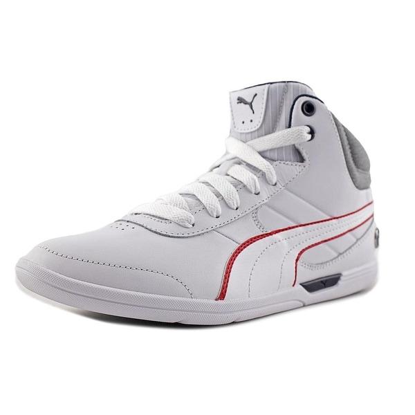 Puma BMW MS Future Cat M1 Men Round Toe Leather White Sneakers