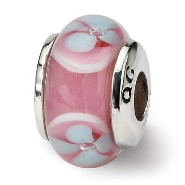 Sterling Silver Reflections Kids Pink Hand-blown Glass Bead (4mm Diameter Hole)