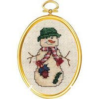 """Country Snowman Mini Counted Cross Stitch Kit-3""""X4"""" 14 Count"""