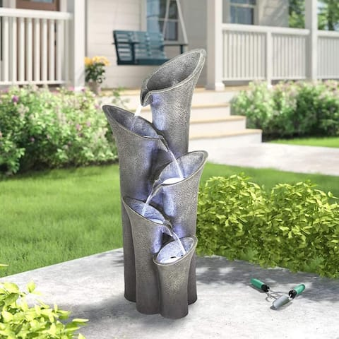 40-Inch H 5-Tier Floor Outdoor Fountains and Waterfalls w/ LED Lights