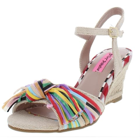 Betsey Johnson Womens Lizzie Fabric Open Toe Casual Espadrille Sandals