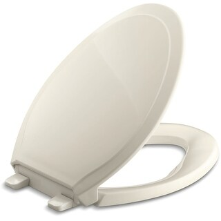 Kohler K-4734 Rutledge Q3 Elongated Closed-Front Toilet Seat with Quiet-Close Technology, Quick-Attach Hinges and Grip-Tight