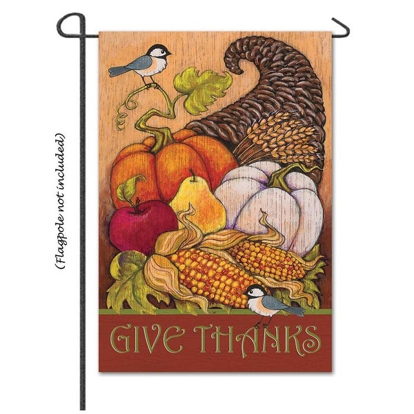 "18"" x 13"" Harvest ""Give Thanks"" Garden Flag - N/A"