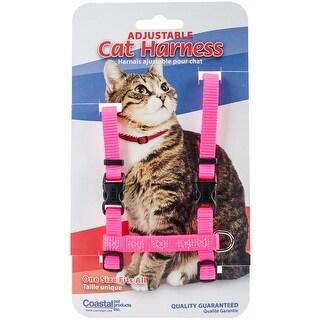 "Neon Pink - Figure H 3/8"" Adjustable Nylon Cat Harness"
