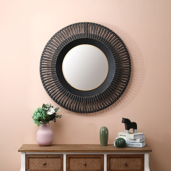 Metal 35in. Dia. Black Wall Mirror. Opens flyout.