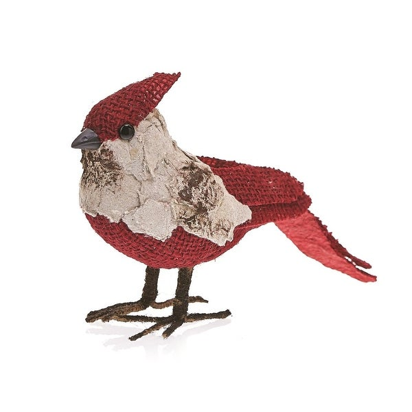 """Pack of 2 Country Rustic Carmine the Cardinal Snowy Birch Bark Christmas Table Top Decorations 7.5"""" - RED"""